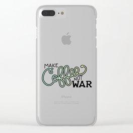 Coffee Not War (Seaside) Clear iPhone Case
