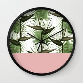 Strelitzia Tropical Pink Wall Clock