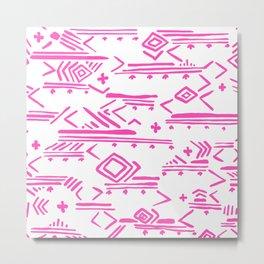 Pink watercolor abstract geometrical aztec tribal pattern Metal Print