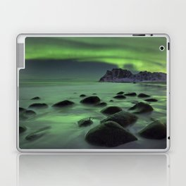 Aurora borealis over a beach on the Lofoten in Norway Laptop & iPad Skin