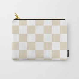 Checkered - White and Pearl Brown Carry-All Pouch