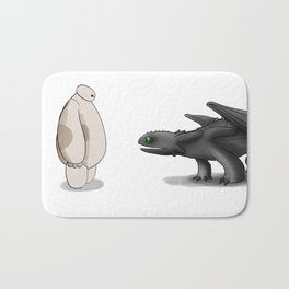 baymax and toothless Bath Mat