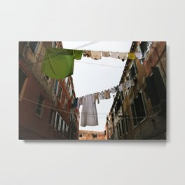Venice Venezia Italy street clothes drying colors digital photography Metal Print
