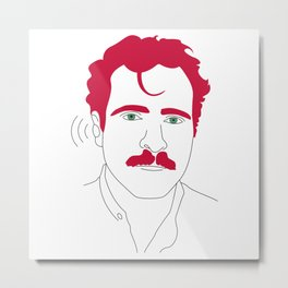 Blue-tooth pink mustache guy Metal Print