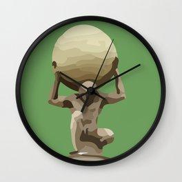 Man with Big Ball Illustration green Wall Clock