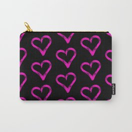 Pink hearts pattern 02 black Carry-All Pouch