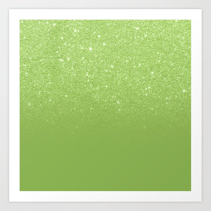Sunday's Society6 | Greenery glitter ombre color block art print