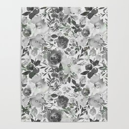Black gray white hand painted floral stripes pattern Poster
