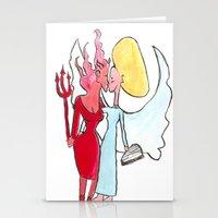 lesbian Stationery Cards featuring Angel/devil lesbian kiss by Nehalennia