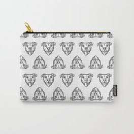 Pitbull Dog Print - black and white halftone Carry-All Pouch