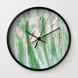 Spring garden in green and grey Wall Clock