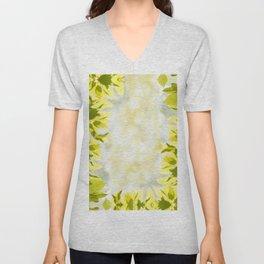 Elm green bright leaves and blurred bokeh Unisex V-Neck
