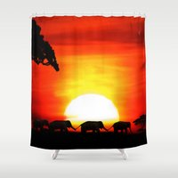africa Shower Curtains featuring Africa by Selina Morgan