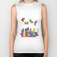 tetris Biker Tanks featuring Tetris by Adayan