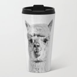 Alpaca - Black & White Travel Mug