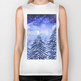 pine forest under galaxy Biker Tank