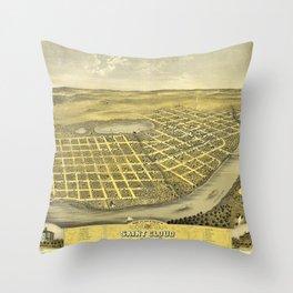 Bird's Eye View of Saint Cloud, Minnesota (1869) Throw Pillow