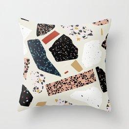 Modern Terrazzo Collage 01 Throw Pillow