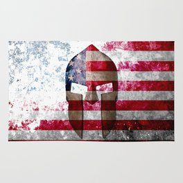 Molon Labe - Spartan Helmet Across An American Flag On Distressed Metal Sheet Rug