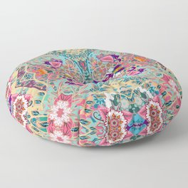 Turquoise Floral Mandala  Floor Pillow