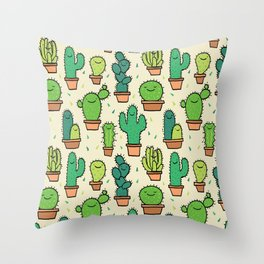 Cute Happy Cactus Cacti Pattern Throw Pillow