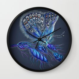 Love Lorn Butterfly-Blue & Navy Palette Wall Clock