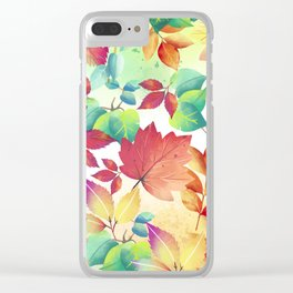 Watercolor Autumn Leaves Clear iPhone Case