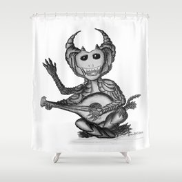 Nikademus, the Dragon Lute Player Shower Curtain