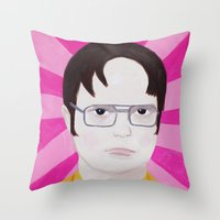 dwight schrute Throw Pillows featuring Dwight by kate gabrielle