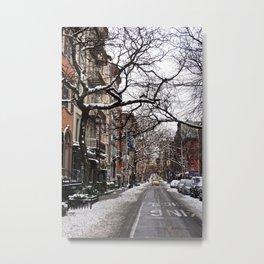 Snowy Street of SoHo, NYC Metal Print
