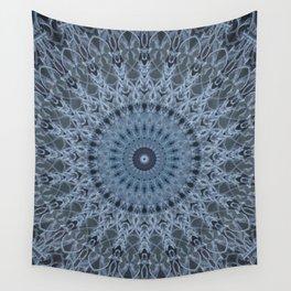 Gray and light blue mandala Wall Tapestry