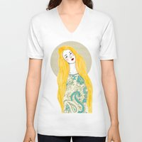 jessica lange V-neck T-shirts featuring Jessica by Juana Andres