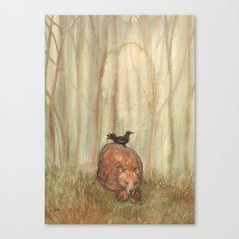 Bear and Crow Canvas Print