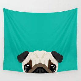 Peeking Pug Wall Tapestry