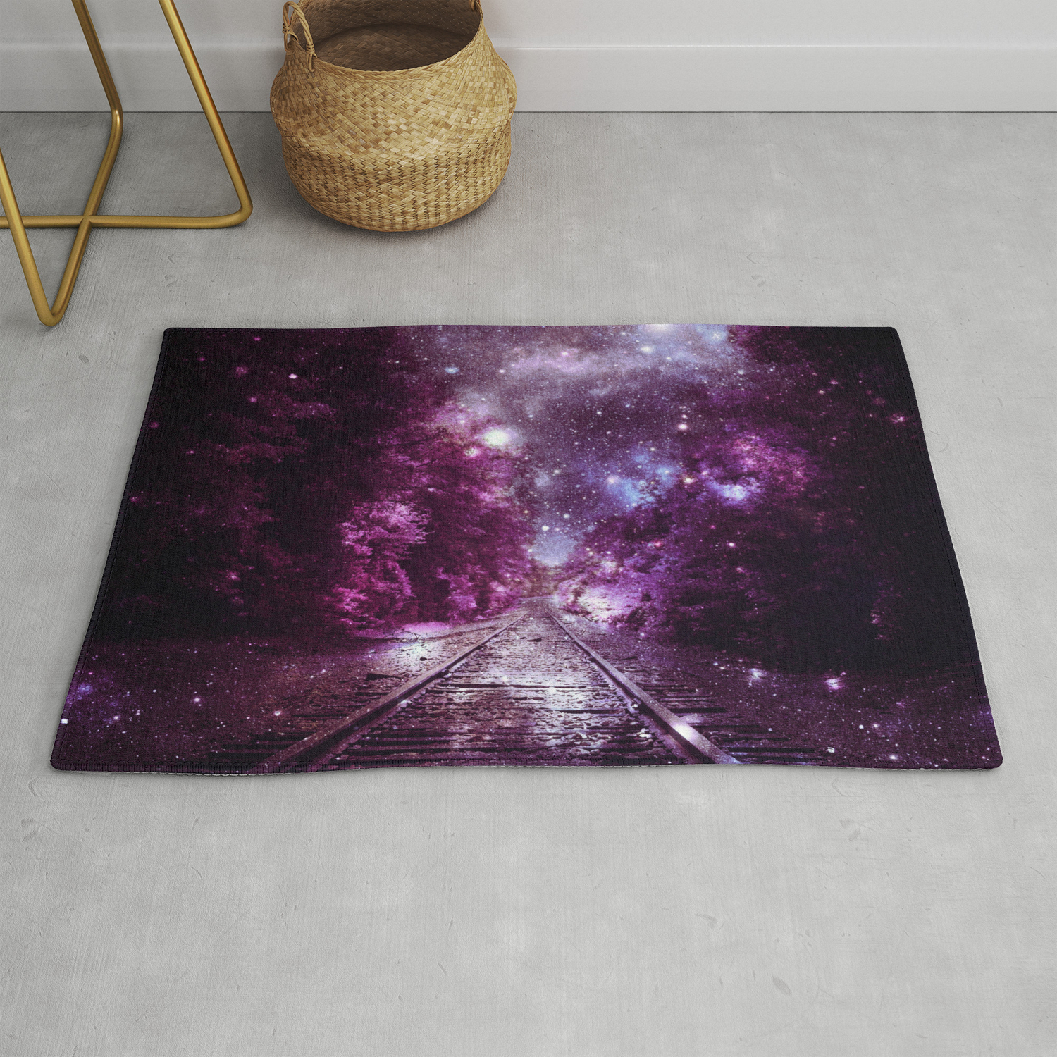 Next Stop Anywhere purple pink Rug