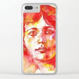 SIMONE WEIL - watercolor portrait Clear iPhone Case