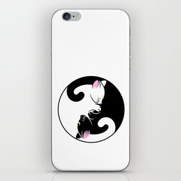 Yin yang cats in black and pink iPhone Skin