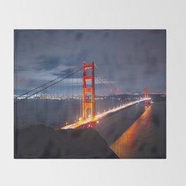 Golden Gate Bridge at Night   San Francisco, CA Throw Blanket