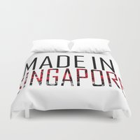 singapore Duvet Covers featuring Made In Singapore by VirgoSpice