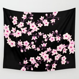 Cherry Blossoms Pink Black Wall Tapestry