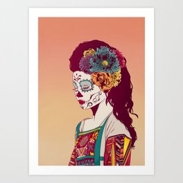 Mexican Skull Lady Art Print