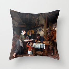 Jan Steen The Satyr and the Peasant Family Throw Pillow