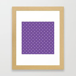 Small White Polka Dots with Purple Background Framed Art Print