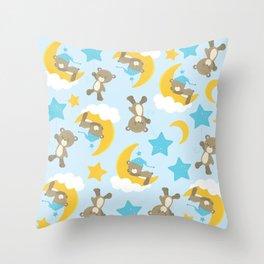 Pattern Of Cute Bears, Brown Bears, Blue Stars Throw Pillow