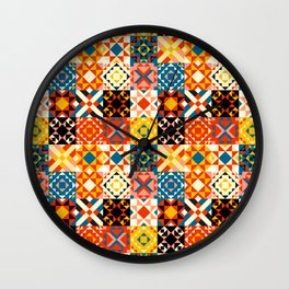 Maroccan tiles pattern with red an blue no2 Wall Clock