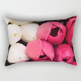 Avant-garde Pink Magenta and Pearlescent White Tulip Buds Rectangular Pillow