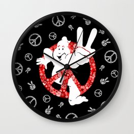Hippie Peace Ghostbusters Wall Clock