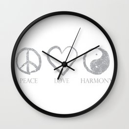 Peace  love  harmon Wall Clock