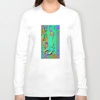 shabby chic Long Sleeve T-shirts featuring  Shabby Chic Faux Torn Vintage Wall Paper by SharlesArt