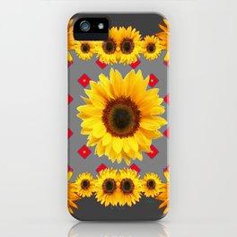 Western Blanket Style Sunflowers Grey Art iPhone Case